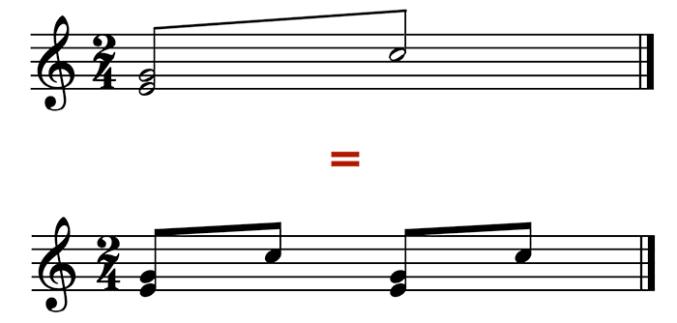 """Équivalence d'un trémolo entre un accord Mi-Sol et une note - Do - sur 2 temps avec un rythme de croches pour l'article """"Les types d'abréviation musicale"""""""