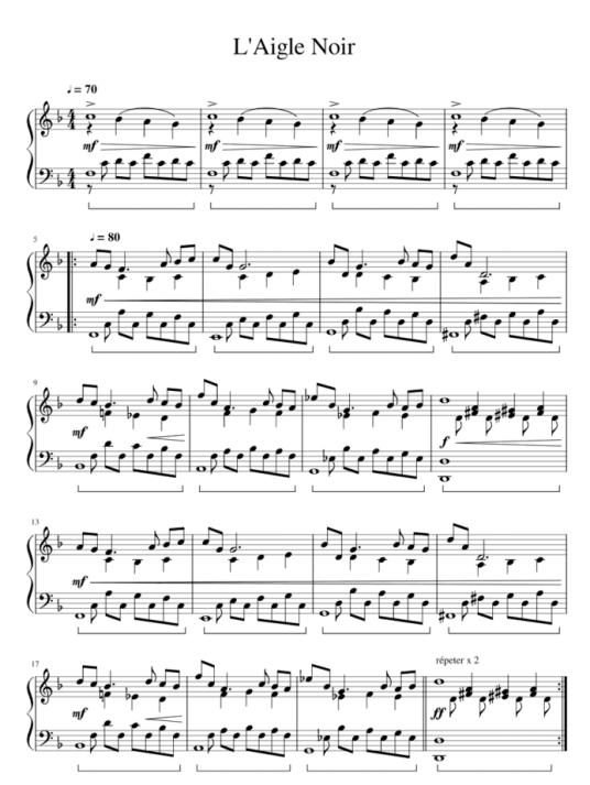 """Extrait de la partition de l'Aigle Noir de Barbara au piano pour l'article """"les tons voisins"""""""