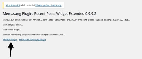 aktivasi plugin wordpress
