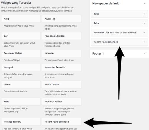 memasang widget wordpress