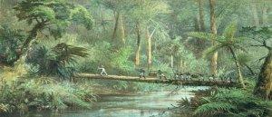 """""""Penyeberangan sungai Benangan"""", litografi C. F. Kelley berdasarkan gambar oleh Carl Bock (1887)"""