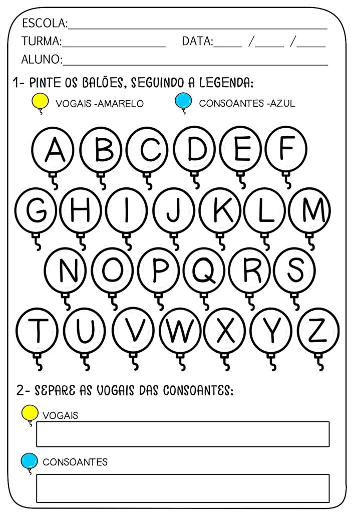 baloes de vogais e consoantes para colorir