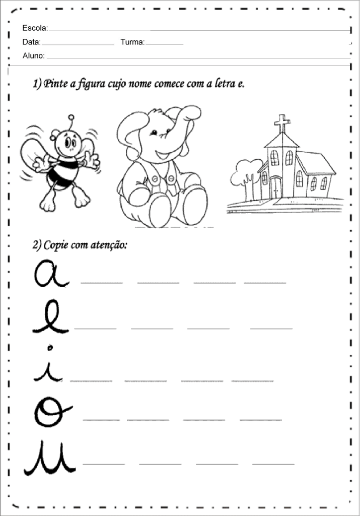 copie as vogais com letra cursiva