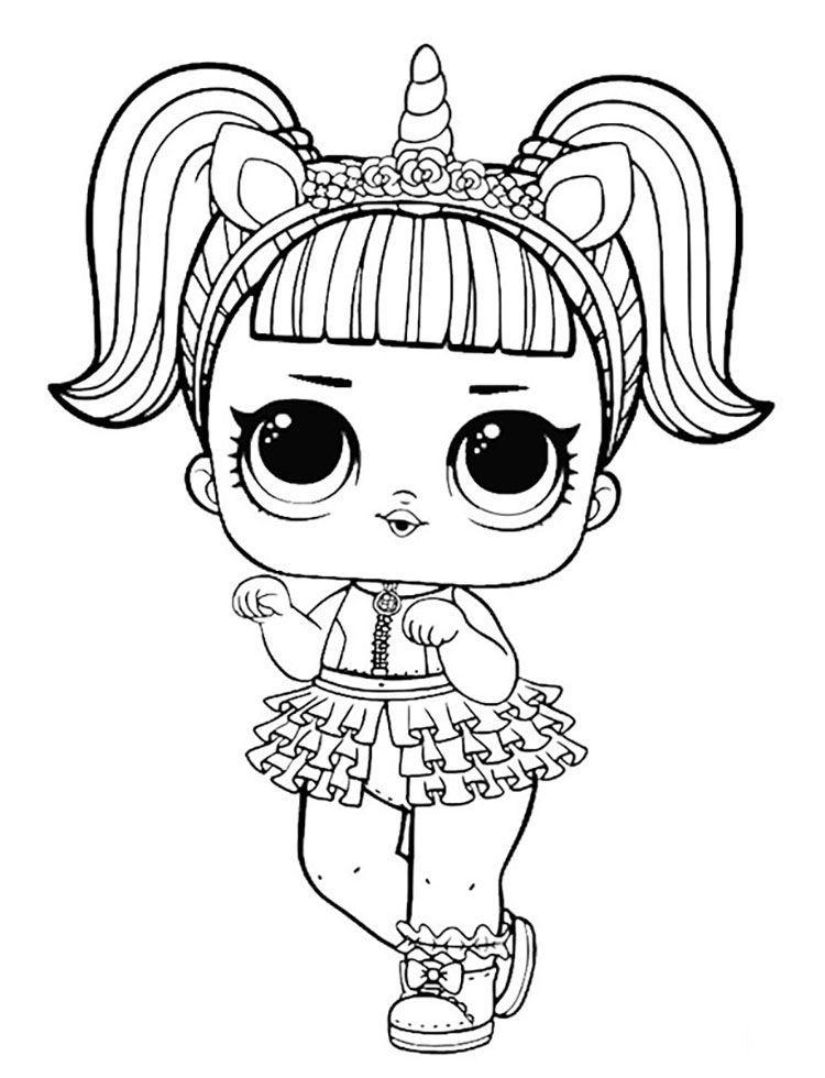 boneca lol unicornio colorir