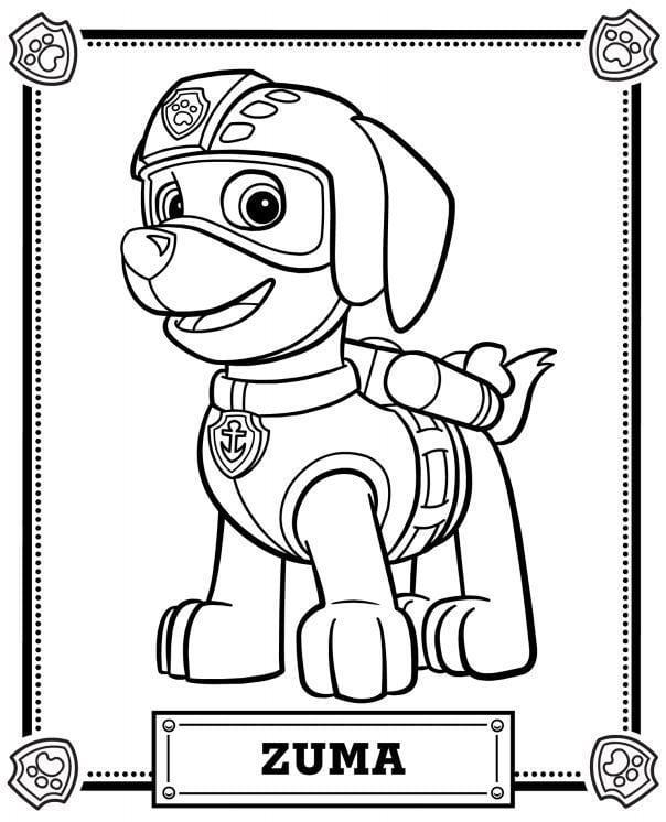 desenho para colorir patrulha canina zuma