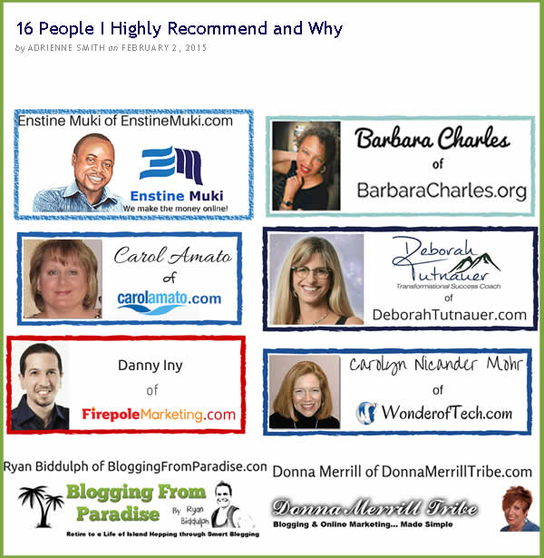 16 bloggers recommended