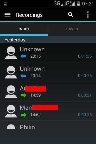 android call recorder most recent calls