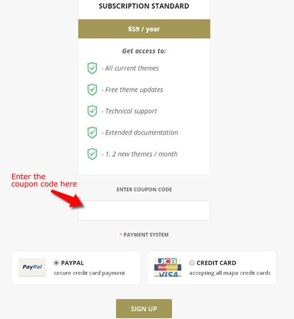 teslathemes coupon code field