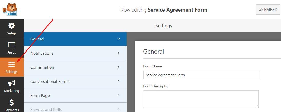 form signature menu