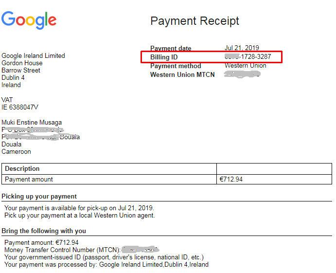 Secret Question and Answer for Google Adsense Western Union Payment!