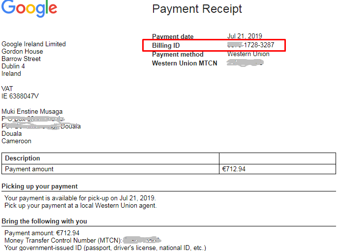 secret question and answer google adsense payment