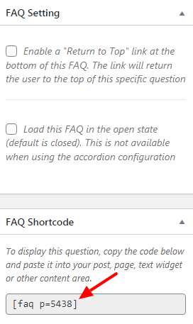 Copy shortcode and other faq settings