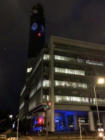 医療従事者の皆さんに感謝 メ~テレ本社のブルーライトアップを実施 鉄塔のウルフィも青くライトアップ