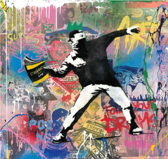 Banksy Thrower , 2019 Silkscreen and Mixed Media on Paper