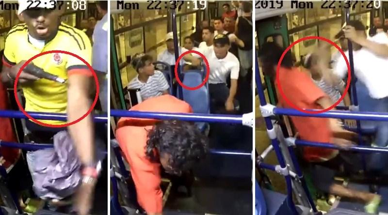VIDEO. Pasajero apuñala a delincuente, mientras asaltaba un bus