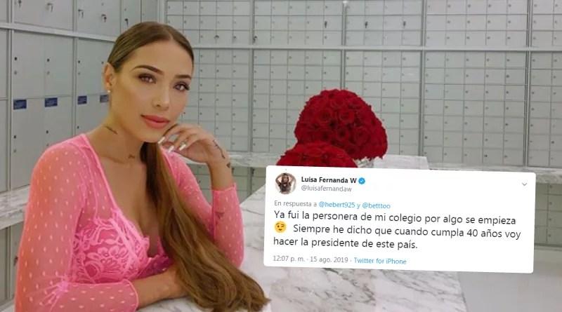 Luisa Fernanda W comentó que desea ser presidente de Colombia a sus 40 años
