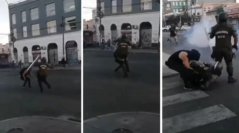 """VIDEO. En medio de las protestas """"tackleo"""" a dos policías y logra huir 😂"""
