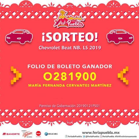 YA HAY GANADORA EN EL SORTEO DEL AUTOMÓVIL ÚLTIMO MODELO DE LA FERIA DE PUEBLA 2019
