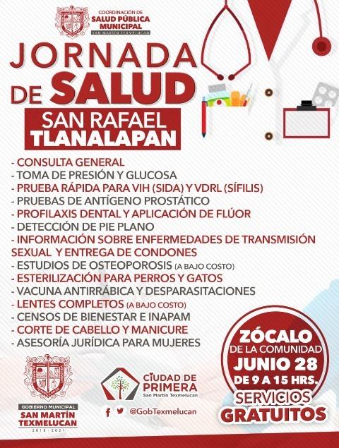 COORDINACIÓN DE SALUD PÚBLICA MUNICIPAL ORGANIZA JORNADA MÉDICA Y DE SERVICIOS ESTE 28 DE JUNIO EN SAN RAFAEL TLANALAPAN