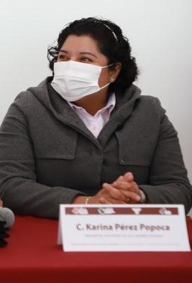 ASEGURA KARINA PÉREZ POPOCA QUE NO BUSCA CONFLICTO CON EL PRESIDENTE DE SAN PEDRO CHOLULA, SIMPLEMENTE DEFENDER EL TERRITORIO SANANDRESEÑO