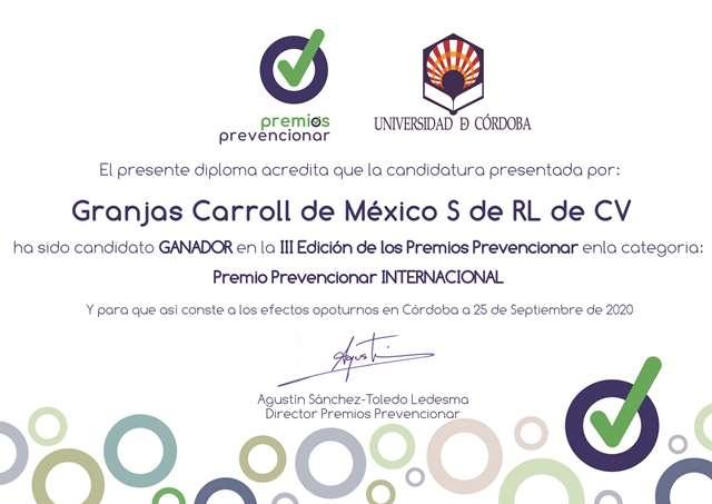 """RECIBE GRANJAS CARROLL PREMIO """"PREVENCIONAR INTERNACIONAL 2020"""" EN ESPAÑA"""