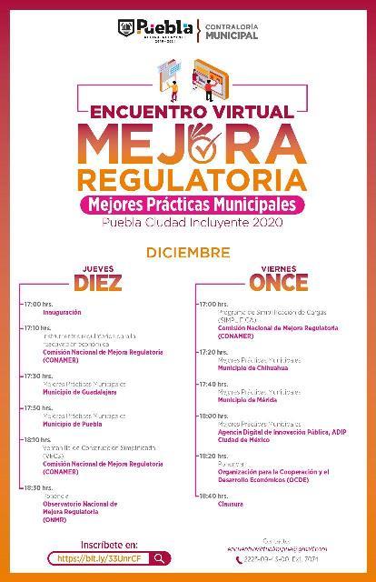 INVITA CONTRALORÍA MUNICIPAL DE PUEBLA A ENCUENTRO VIRTUAL DE MEJORA REGULATORIA
