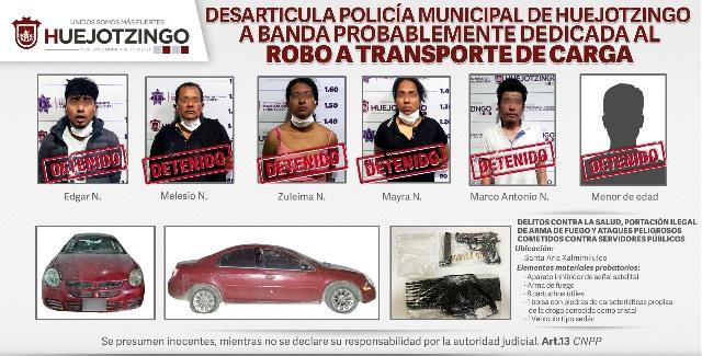 DESARTICULA POLICÍA MUNICIPAL DE HUEJOTZINGO A BANDA PROBABLEMENTE DEDICADA AL ROBO A TRANSPORTE DE CARGA