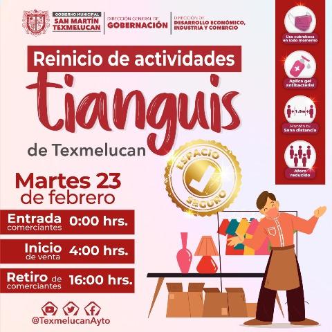 TIANGUIS DE TEXMELUCAN REINICIA ACTIVIDADES CON ESTRICTOS PROTOCOLOS DE PREVENCIÓN ANTE EL COVID