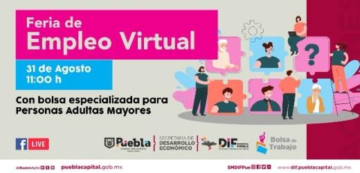 ANUNCIA AYUNTAMIENTO DE PUEBLA FERIA DE EMPLEO VIRTUAL PARA PERSONAS ADULTAS MAYORES
