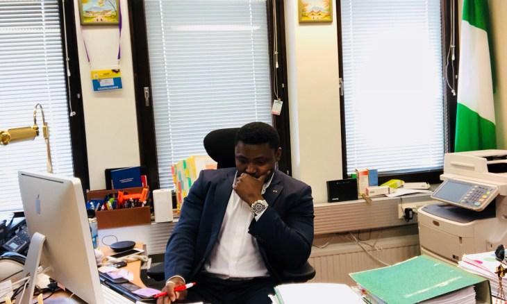 Simon Ekpa at his office
