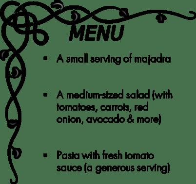 Day 5 menu