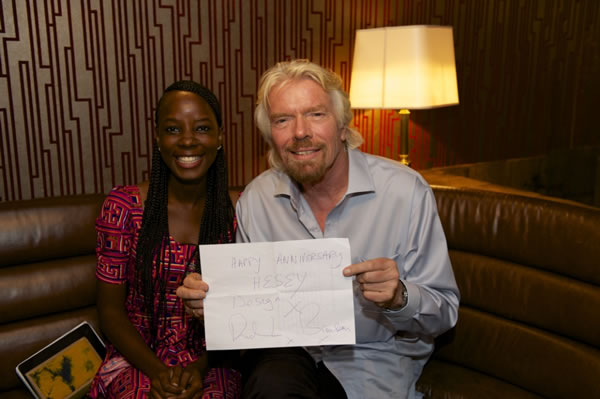 2014 Enterprise Challenge winner and Hesey Designs CEO Eseoghene with Richard Branson
