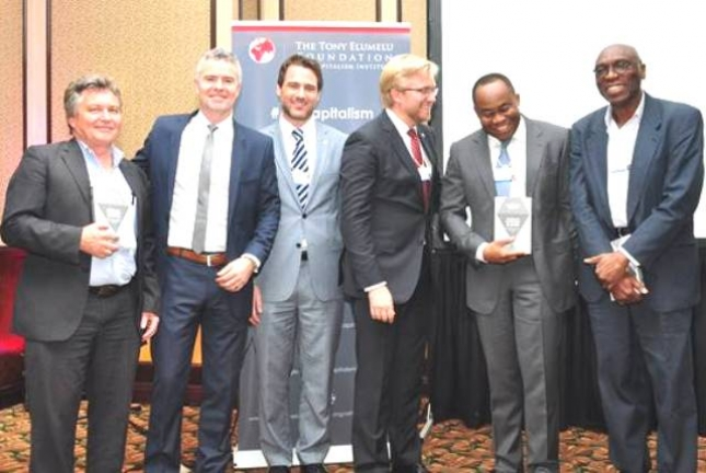 L-R: Mark Pearson, one of the editors of Africans Investing in Africa; editor Dr. Terence McNamee, Deputy Director of the Brenthurst Foundation; David Rice, Director of The Tony Elumelu Foundation s Africapitalism Institute; editor Dr. Wiebe Boer, Director of Strategy at Heirs Holdings; Uche Orji, Managing Director & Chief Executive Officer of the Nigeria Sovereign Investment Authority; and Dr. Ayo Ajayi head of Africa for the Gates Foundation during the Launch of the book Africans Investing in Africa by Nigeria-based Tony Elumelu Foundation and the Oppenheimer family s Brenthurst Foundation on the sidelines of the World Economic Forum Africa meeting in Cape Town.