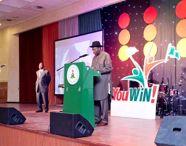 President Jonathan at a YouWin launch