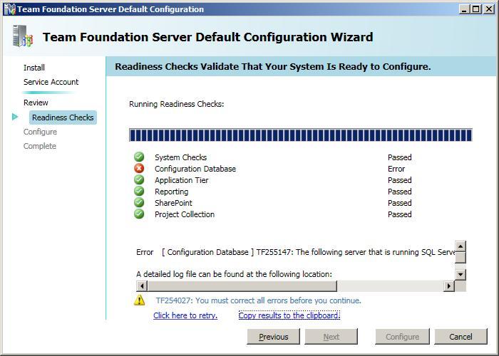 Erro de configuração de banco de dados no wizard de configuração padrão.