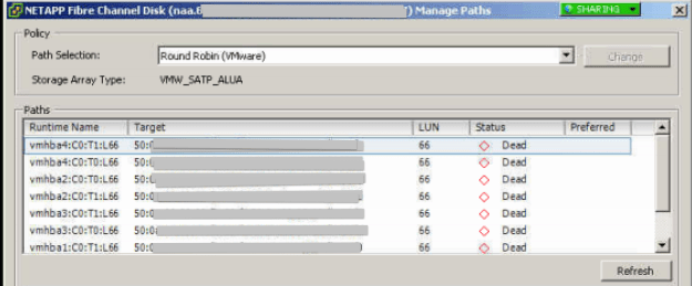 Manage_Paths_VMWare_LUN_Status_dead_NETAPP_Fibre_Channel_Disk
