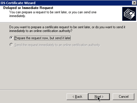prepare IIS certificate request