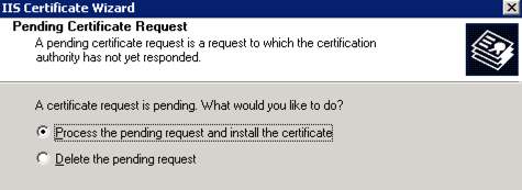 Process Certificate Request IIS 6