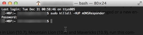 flush DNS Cache Mac OS X