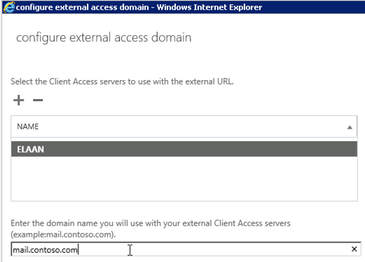 configure external access domain