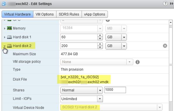 virtual disk settings