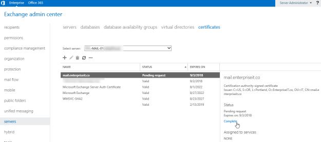 exchange-2016-complete-certificate-request