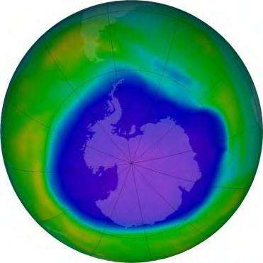 Octobre 2015 : Trou dans la couche d'ozone en été austral