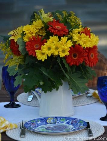 Deep yellow mums and dark orangey red gerber daisies