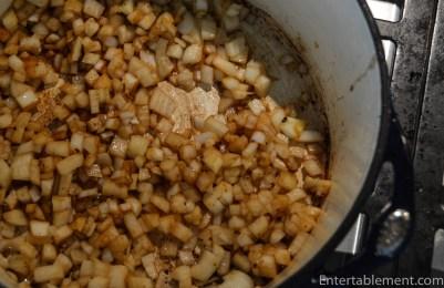 Sauté the onions until translucent.