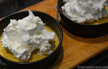 divide the meringue between the pans