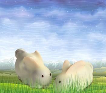Cute mini chocolate easter bunnies