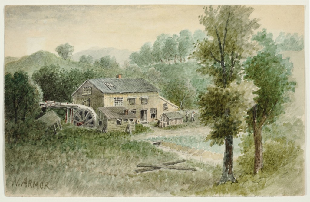 """""""The Mill at Millvale on the PRR"""" by William Gillespie Armor (American, 1834–1924). Watercolor, from the collection of Sheryl and Bruce Wolf."""