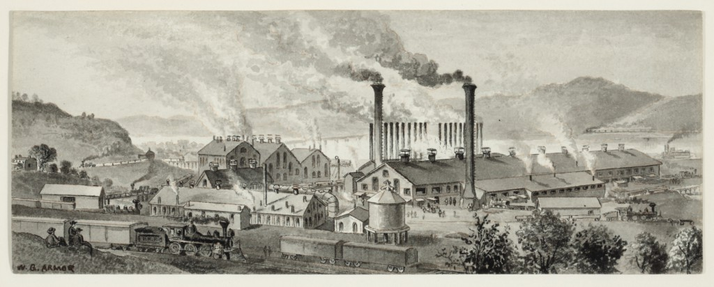 """William Gillespie Armor, """"View at Braddock's Field at the Edgar Thomson Steel Works"""" (c. 1876). Pen and ink with grey wash, 3 3/8 x 9 in. Collection of Sheryl and Bruce Wolf."""