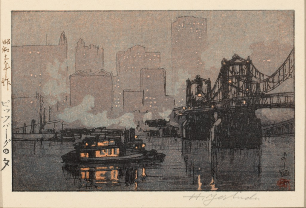 """""""Night Rain at Pittsburgh"""" (1928), a color woodcut by Yoshida Hiroshi (Japanese, 1876–1950). Collection of Sheryl and Bruce Wolf."""